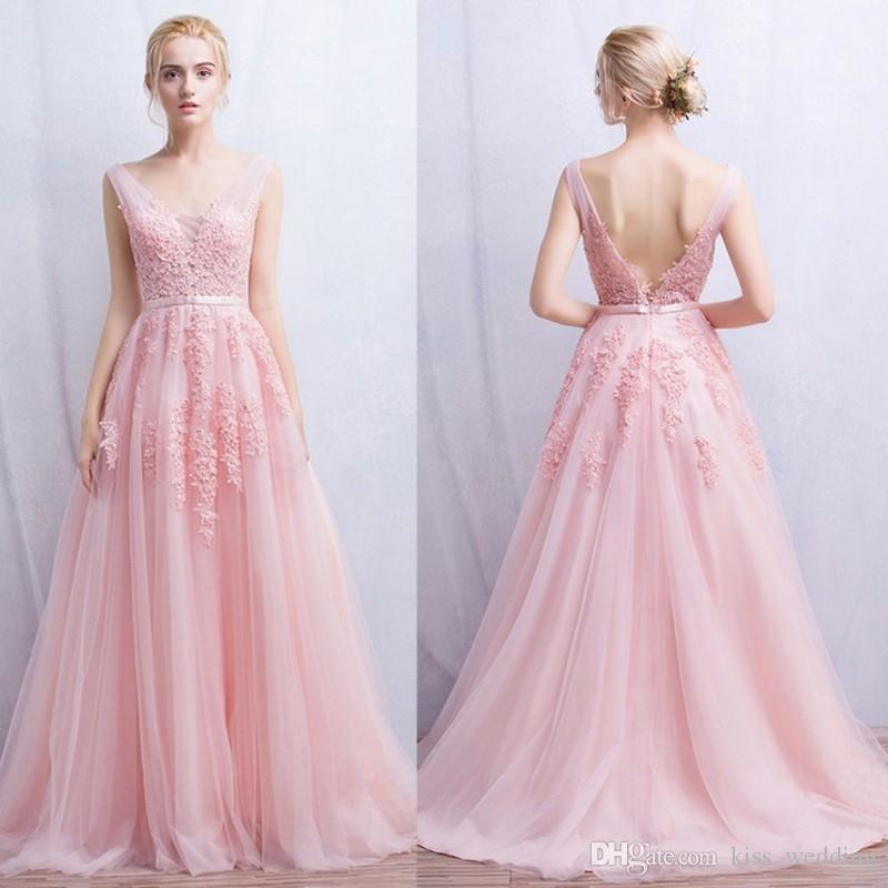 Compre Moderno Pale Pink Tulle Prom Vestidos De Cuentas De Cuello En ...