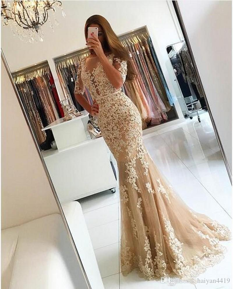 2017 New Sexy Mermaid Prom Dresses 2k17 Champagne Lace Appliques Half Sleeves Sashes Backless Plus Size Party Dress Formal Evening Gowns