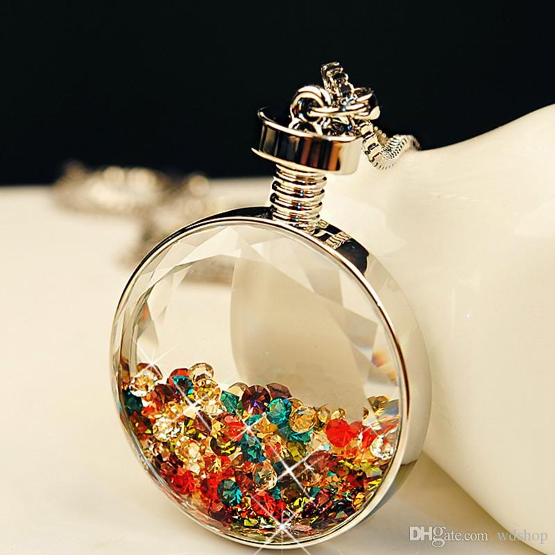 Three Tone Floating Charm Perfume Wishing Bottle Glass Pendant Chain Necklace Jewelry Made With Austria Crystal Wholesale