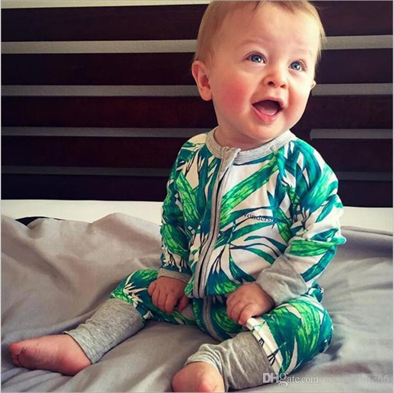 Christmas Baby Zipper Rompers Autumn Baby Cotton Long Sleeve Print Rompers Kids Jumpsuits Overalls Newborn Bodysuits