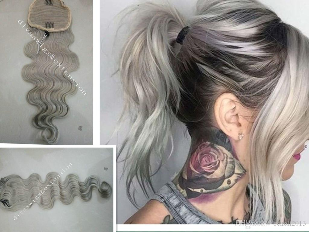 Fashion Super Curly Grey Human Hair Ponytail Real Brazilian Remy