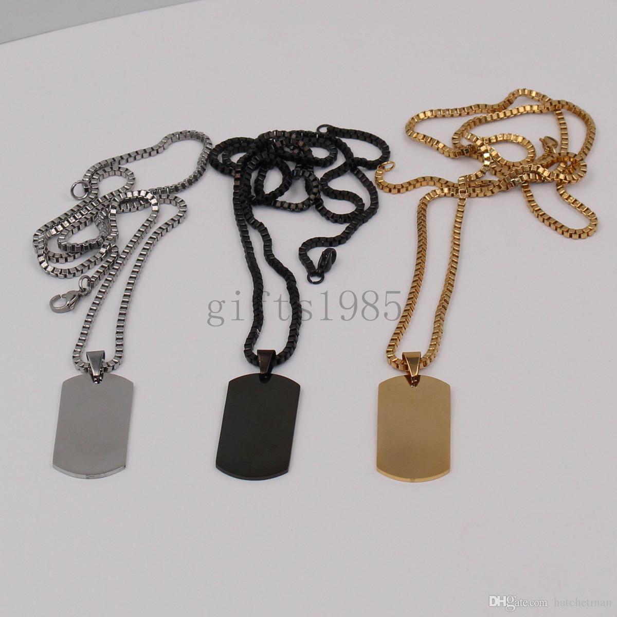 Affascinante collana in acciaio inox da uomo in argento nero con pendenti in oro nero