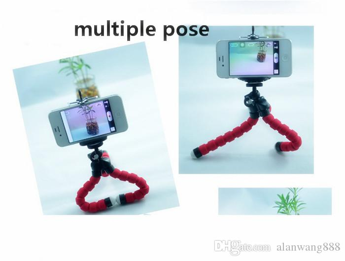 2017 Hot sell Flexible Tripod Holder For Cell Phone Car Camera Mini Octopus Sponge Stand Bracket Selfie Monopod Mount With Clip