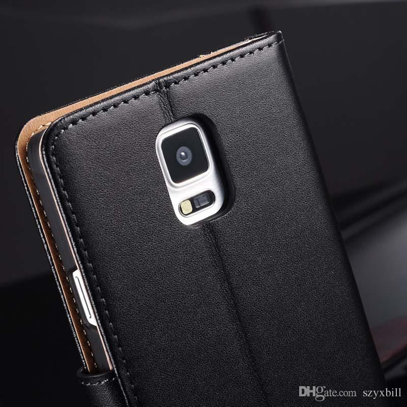 huge discount 8594a edcd4 2018 Genuine Leather Case for Samsung Galaxy Note 4 N9100 Wallet Style Flip  Stand Phone Back Cover Coque For Samsung Note 4 Cases