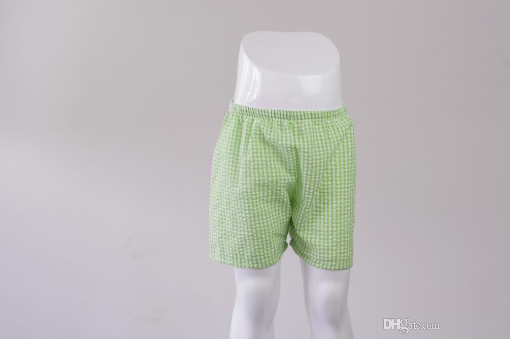 All'ingrosso all'ingrosso Boutique Vestiti bambini Estate Ragazzi Shorts in cotone Plaid Seersucker Boys Pantaloncini il relax personalizzati
