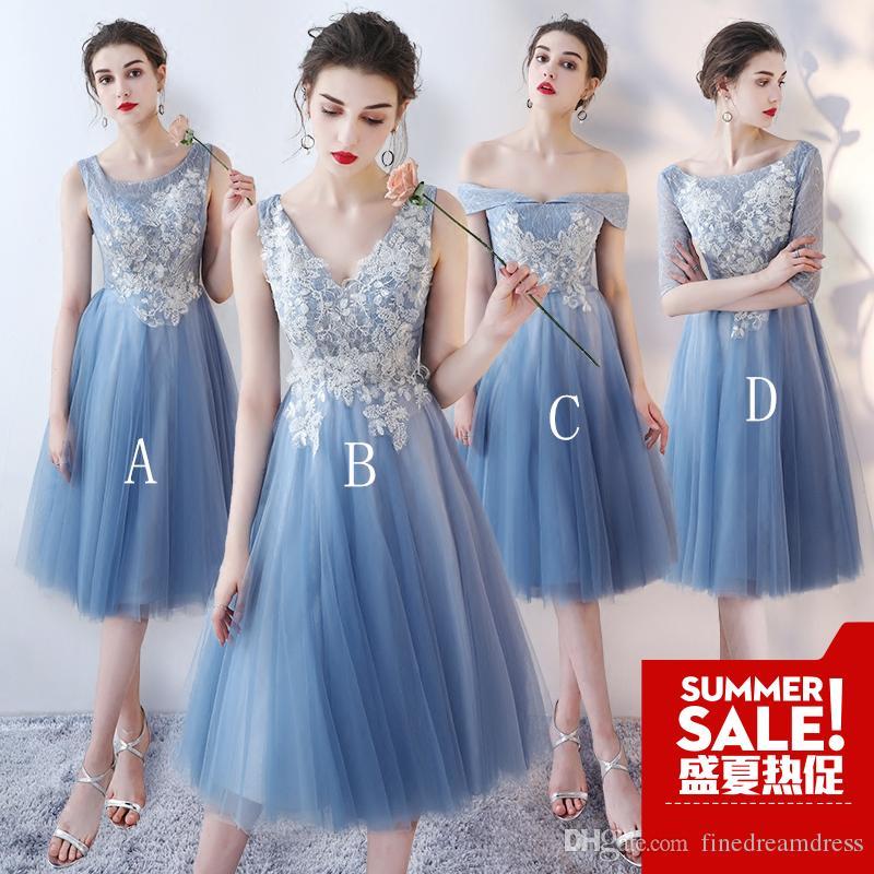59076e880e51 Lace Bridesmaid Dresses Sheer V Neck Tulle A Line Tea Length Short Party  Cocktail Prom Dresses With Lace Up Occasions Bridesmaid Dresses Order  Bridesmaid ...