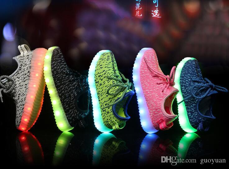 2017 niños LED Shoes Light Colorful Flashing con carga USB Unisex Fluorescente light up Shoe Party Sport Zapatos casuales para niños