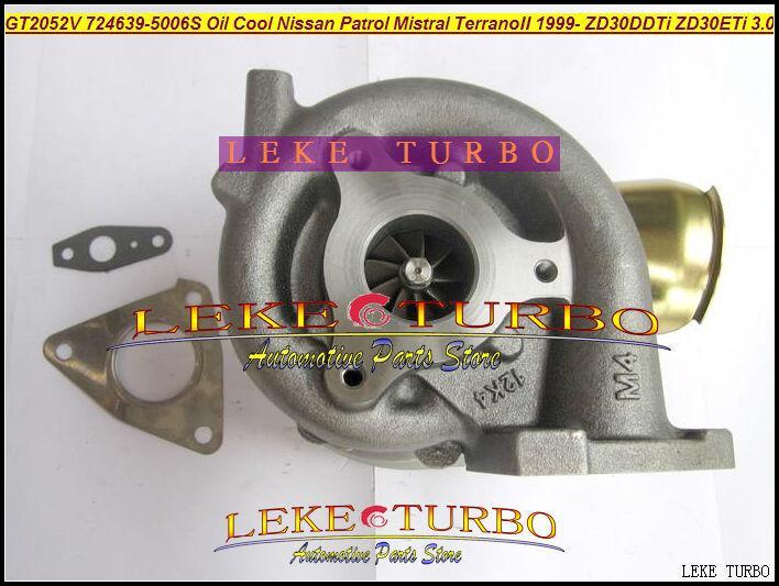 GT2052V 724639-5006S 705954-0015 wind cooled Oil Cooled Turbocharger Turbo For Nissan Patrol MISTRAL Terrano II 1999- ZD30DDTi ZD30ETi 3.0L (4)
