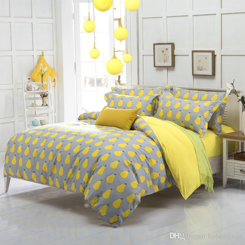 Cute Yellow Pear Fruit Bedding Set Kids Duvet Cover Bed Set Single