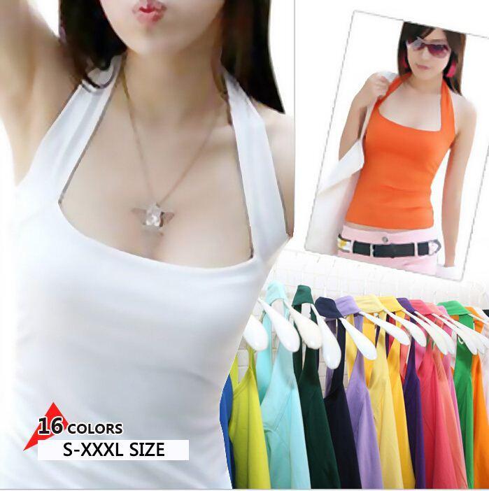 db76811d04bb7 new women Halter Neck Sheath slim vest sexy camis soft Candy colors cotton  shirt tank tops sleeveless garment for girl