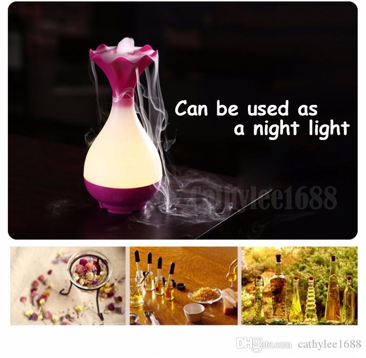Yeni Vazo Çiçek USB Hava Nemlendirici Ultrasonik Aromaterapi Uçucu Yağ Aroma Difüzör ile LED Gece Işık Mist Arıtma atomizer için ev