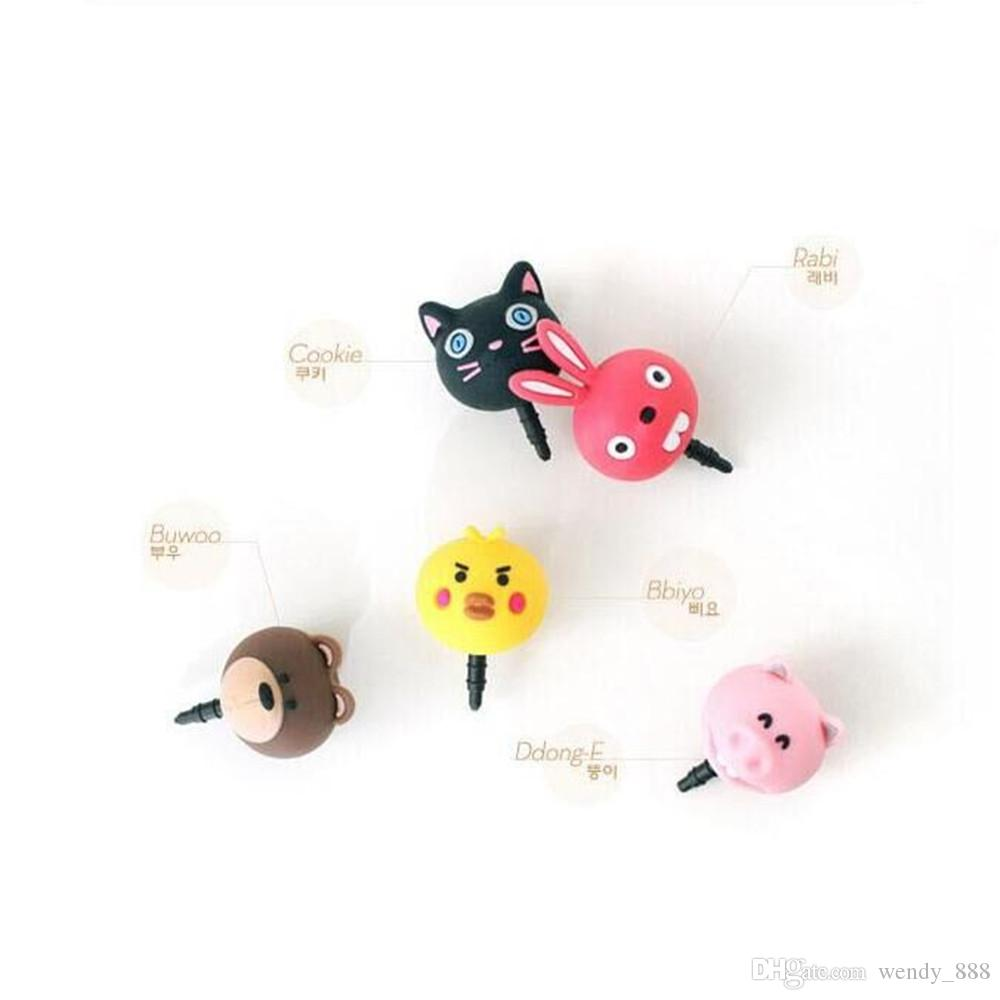 283776d68 PVC Cartoon Animal Anti Dust Plug Pig Chick Rabbit Cat Bear Ear Cap Stopper  For Iphone Samsung Lg SmartPhone 3.5mm Earphone Jack Cat Dust Plugs Cell  Gadgets ...