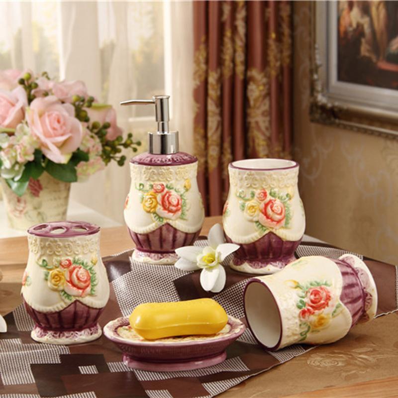 Porcelain Bathroom Sets Ivory Porcelain Flowers Design Embossed Hand ...