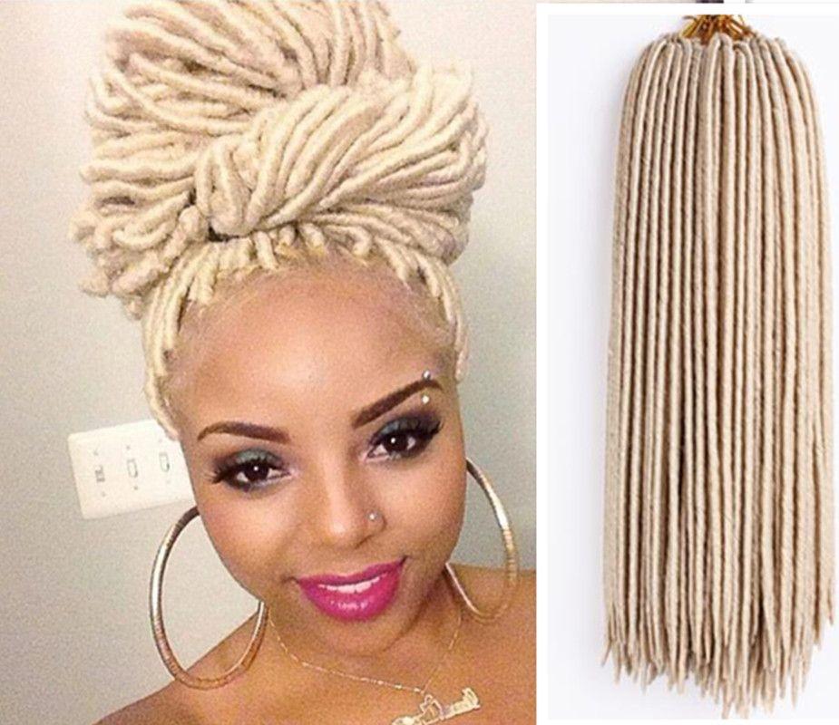 Free Shipping Faux Locs Crochet Hair Braid Blonde Color Hair