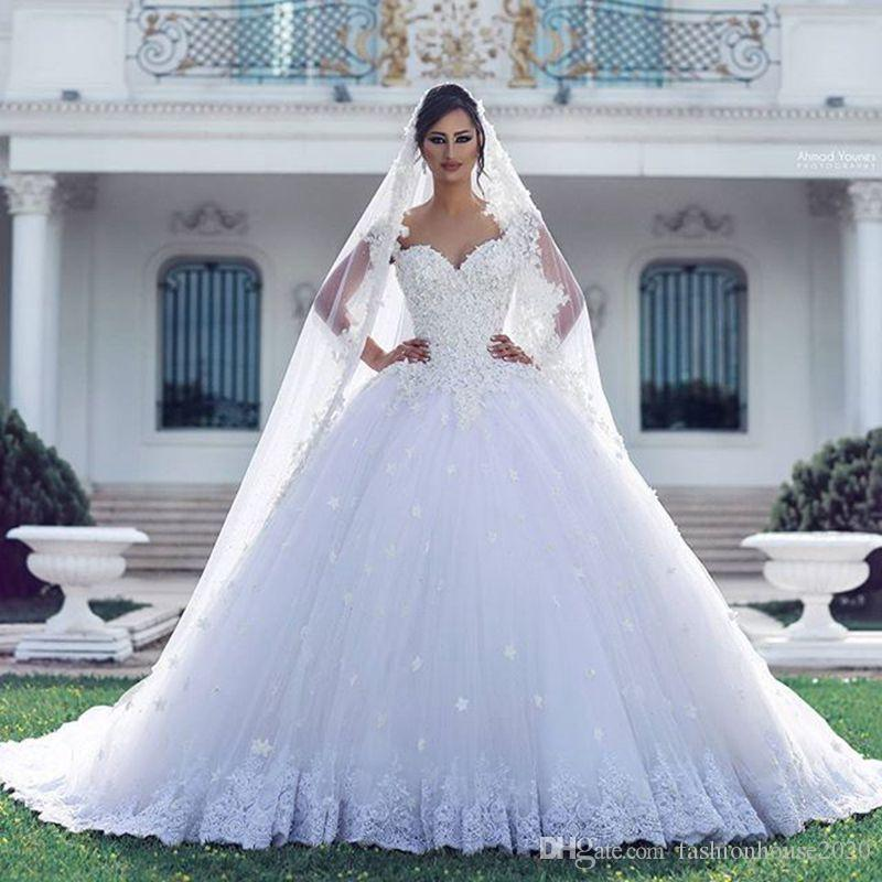 Arabic Luxury Lace Ball Gown Wedding Dresses Applique 3d Flowers ...