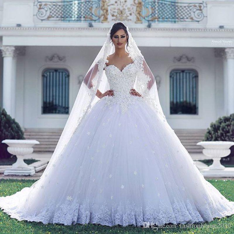 dbb613098 Vestidos de boda del vestido de bola del cordón de lujo árabe Applique 3D  tren de la corte de la corte con cuentas más el tamaño Puffy Backless Vestidos  de ...