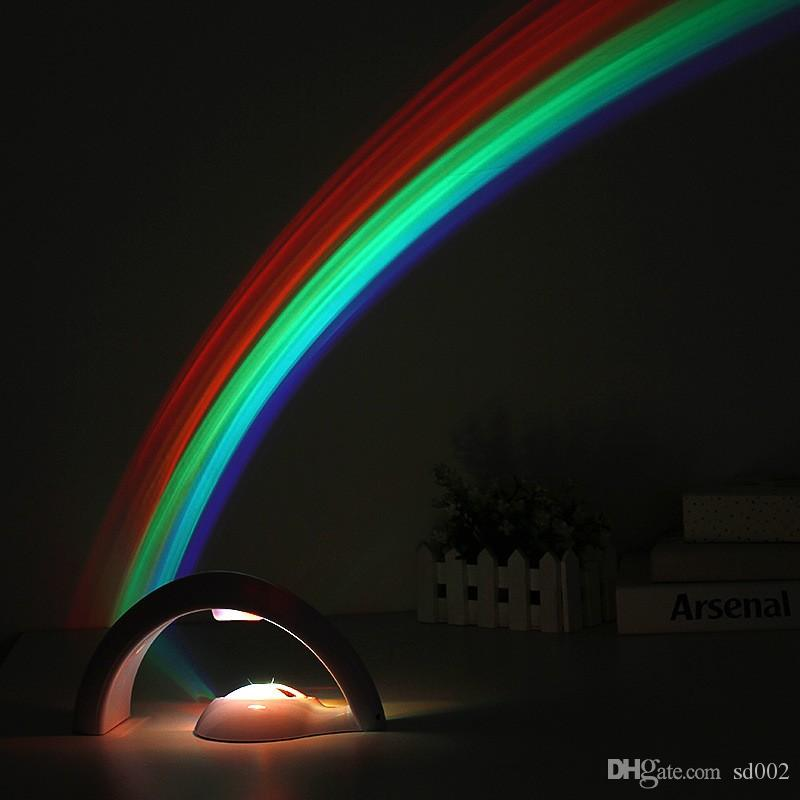 Touch Type LED Light Creativo Semplice Lucky Rainbow Projection Lamp Glowing In The Dark Plastic Lampade notturne Proiettore Popular 21 5sl B R