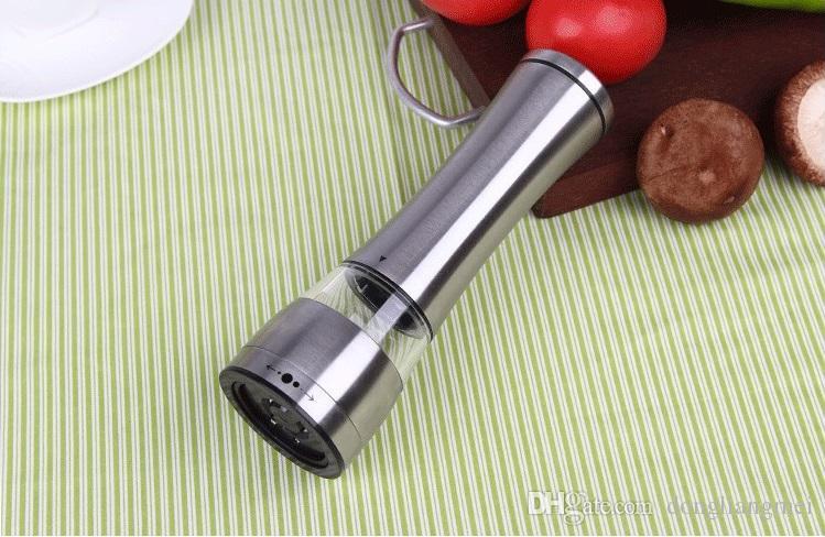 Molinillo de molino de sal y pimienta manual de acero inoxidable - elegante especia, molino de pimienta de sal con rotor de cerámica ajustable h148
