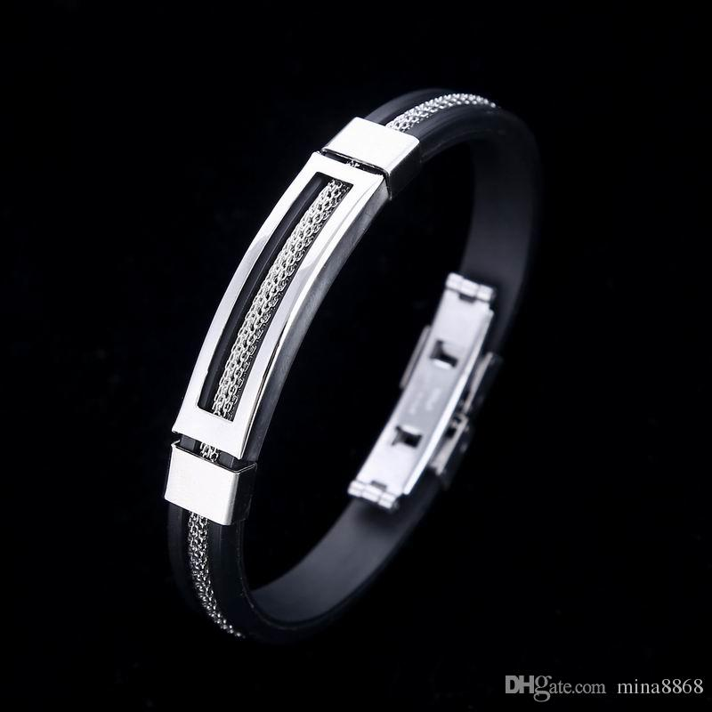 Personality Men Charm Bracelet Stainless Steel & Silicone Bracelets Men Jewelry Accessories for Best Friends Wristband Wholesale