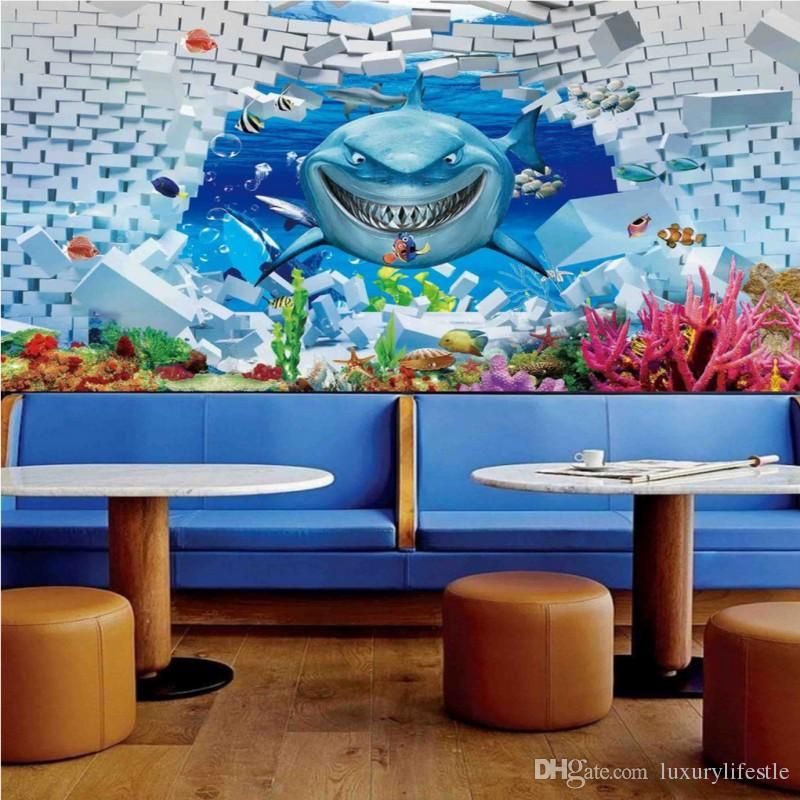 3d Stereo Shark Fish Underwater World Tv Background Wallpaper Living Room Bedroom Mural Pc Widescreen Phone From