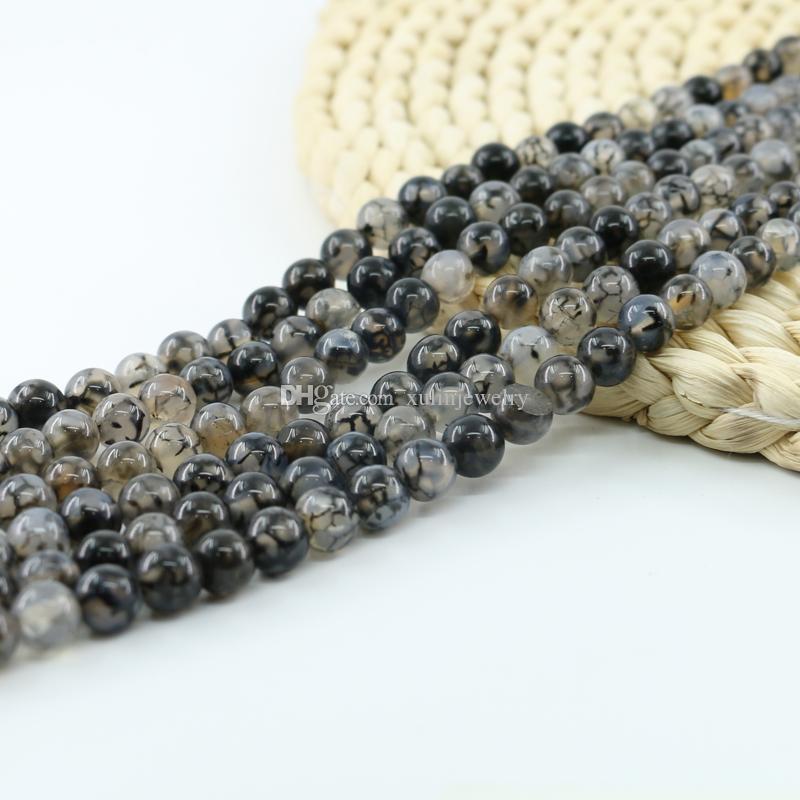 de0c0e667997 Compre Perlas Genuinas De Ágata De Araña Natural Semipreciosas Piedras  Preciosas Que Hacen Joyas 4 6 8   10mm Hebra 15 Pulgadas Por Juego L0116    A  2.54 ...