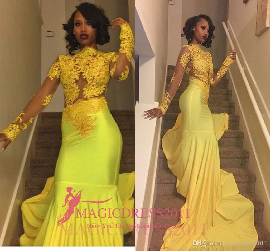 Black Girl 2019 Bright Yellow Lace Prom Evening Dresses Mermaid Bateau Illusion Long Sleeves Vestidos de Fiesta Formal Evening Gowns Arabic