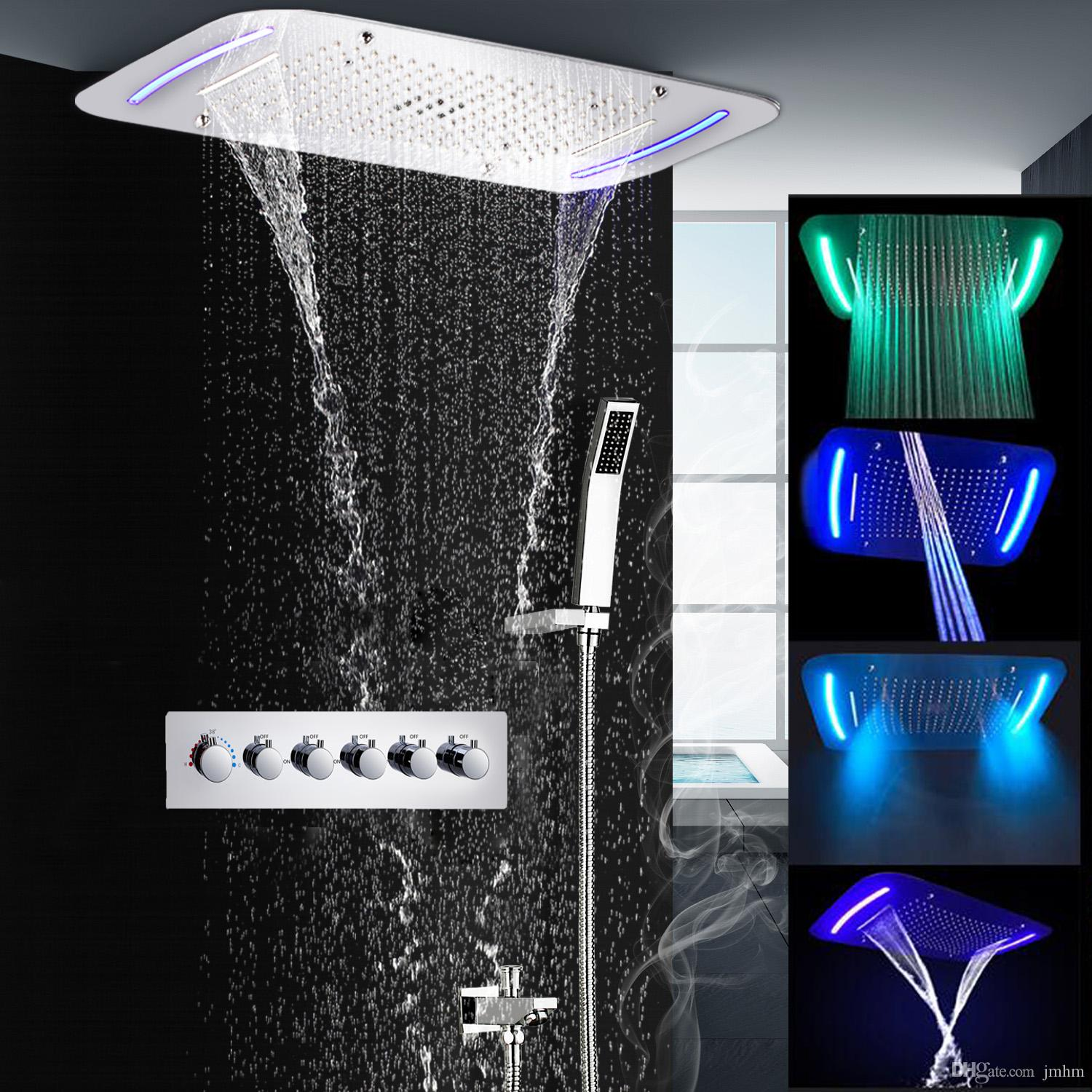 2019 Bathroom Complete Rain Shower Set Electric Led Waterfall Shower