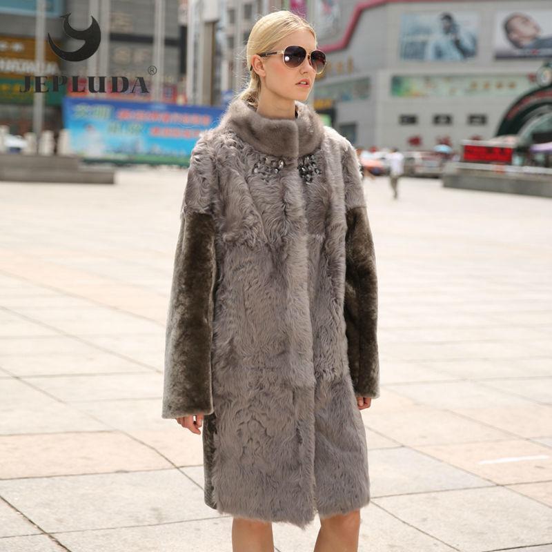 Jepluda Winter Women Real Fur Coat New Mink Fur Mandarin Collar ...
