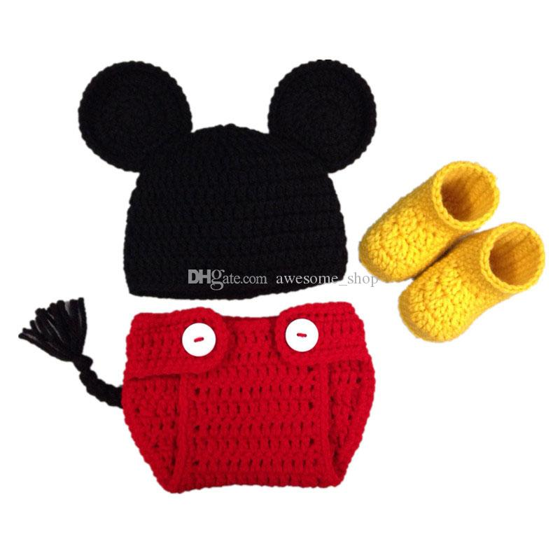 Lovely Cartoon Mouse Newborn Outfits,Handmade Crochet Baby Boy Girl Animal Beanie,Diaper Cover and Booties Set,Halloween Costume,Photo Prop