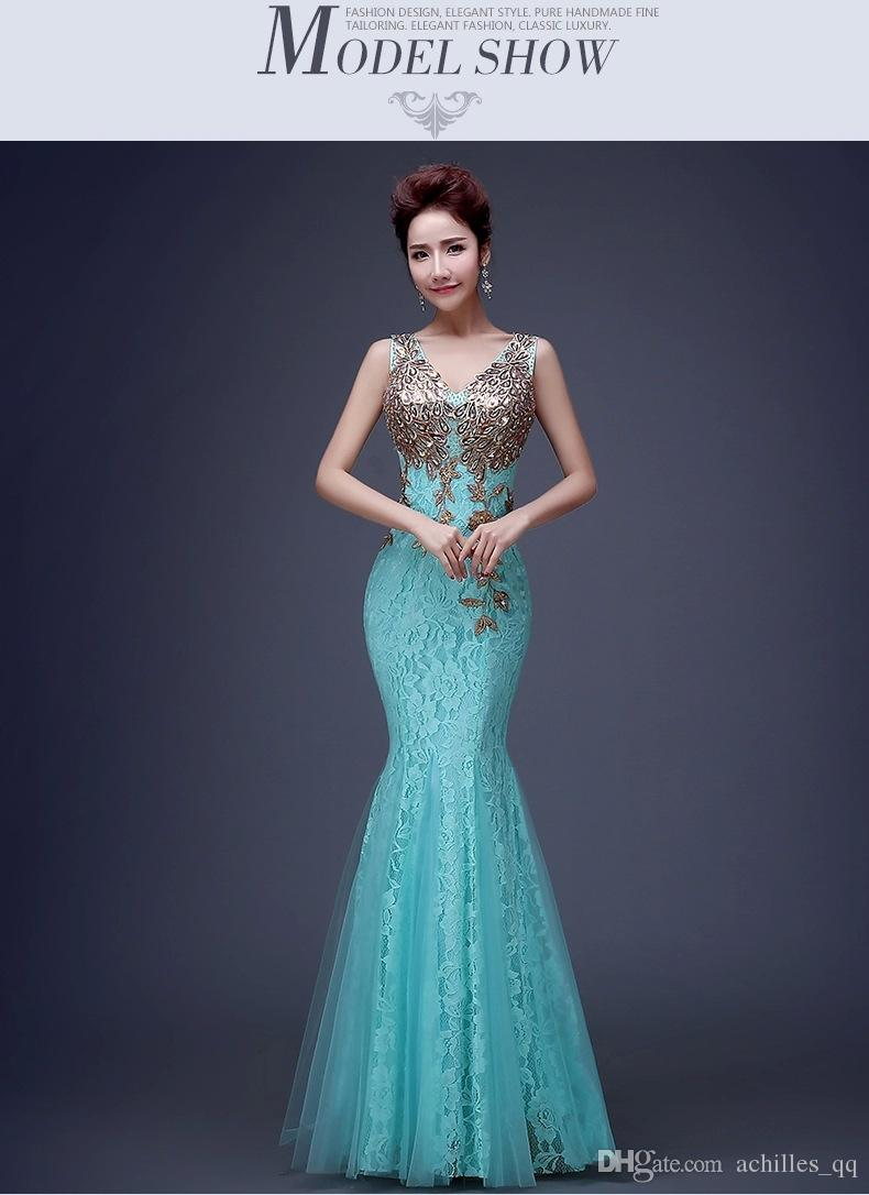 2017 robe sequins long evening dress formal evening dress elegant fish tail paillette lace bridesmaid evenin dress gown tailor made