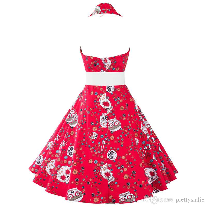 Women's Bust Halter Vintage 1950s Audrey Hepburn Style Elegant Retro Floral Printed Swing Dress Rockabilly Party Evening Ball Gowns