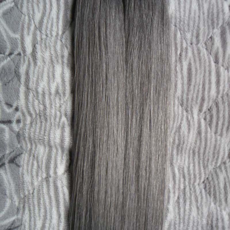 7a V-Tip Extensiones de Cabello Fusion 100g Straight Brazilian Tip Extensiones de Cabello Gris 100 unids Keratin Tip Hair Extensions 1g / s
