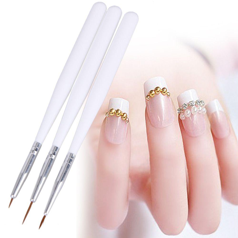 3pcs/set Nail Art Brush Pen Line Scanning Drawing Painting Pen Brushes  Design Tool Set Acrylic Nail Art Dotting Tools