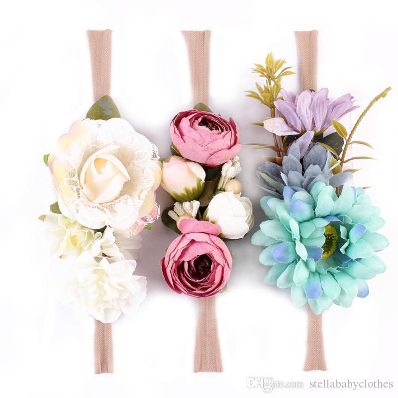 Moda Kızlar Doğum Günü Fotoğraf Prop Çiçek Çocuklar Saç Aksesuarı 3 adet Naylon Bebek Kız Gül Kafa Sıcak Satış