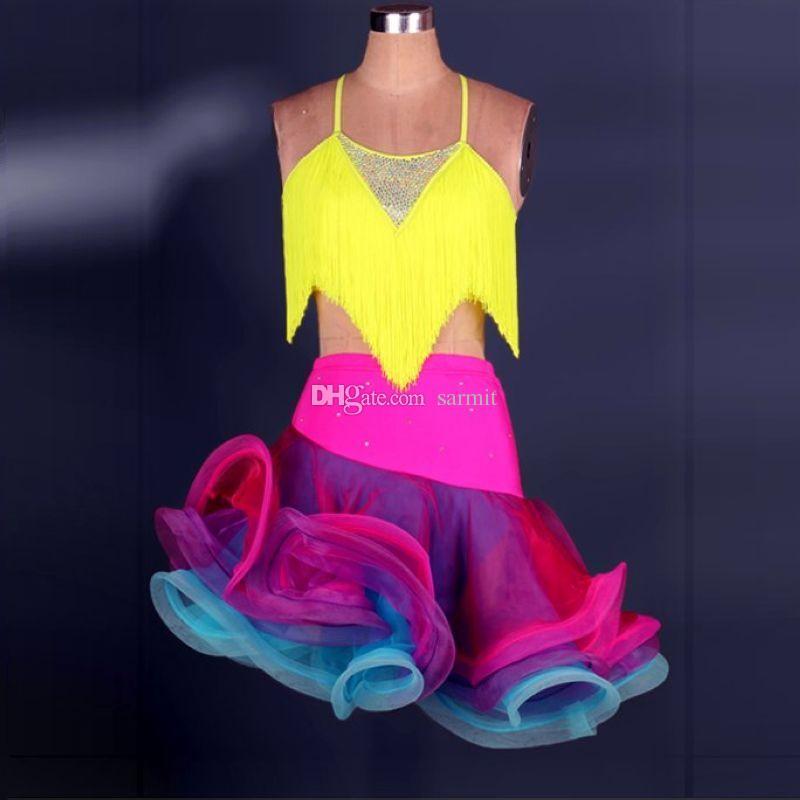 Latin Dance Dress Women Girls Latin Salsa Dance Competition Dresses Tassel Samba Costumes Shirt Skirt Set D0193 Adjustable Strip Fluffy Hem