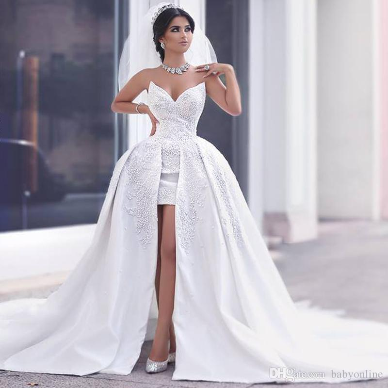 Saudi Arab Design Asymmetrical Wedding Dresses Scoop: 2017 New Ball Gown Lace Wedding Dresses With Short Front
