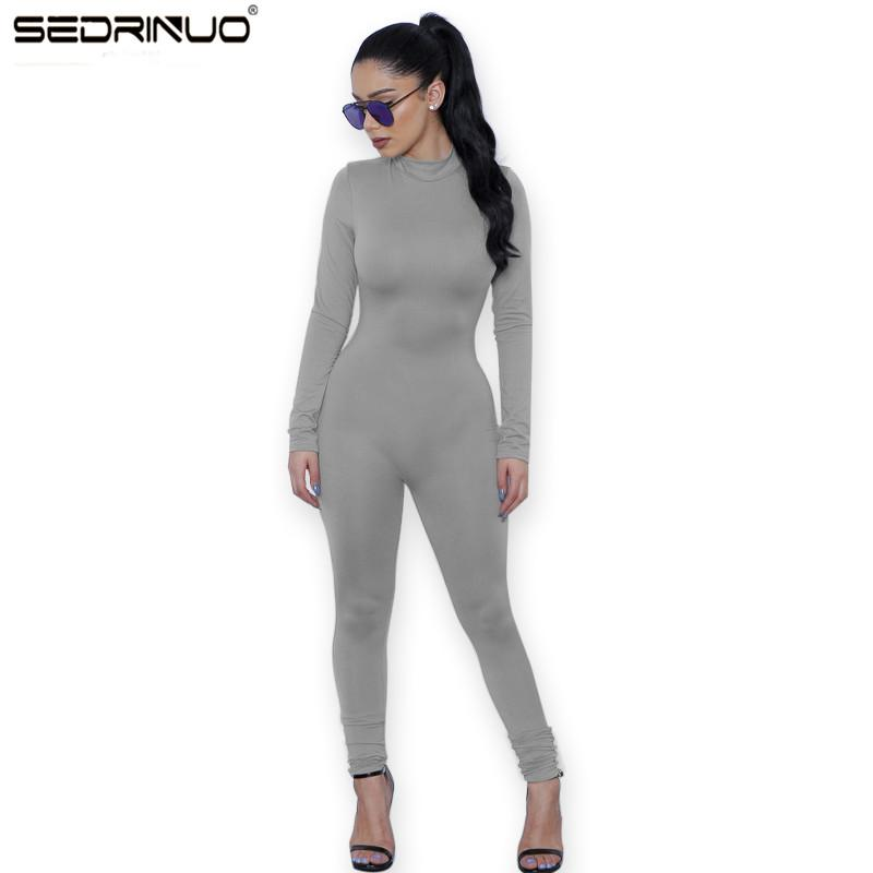 31fc43f87bf 2019 Wholesale 2017 New Hot Casual Women One Piece Jumpsuits Long Sleeve  Turtleneck Bodycon Back Zipper Long Pants Sexy Outfits Grey Rompers From  Bailanh
