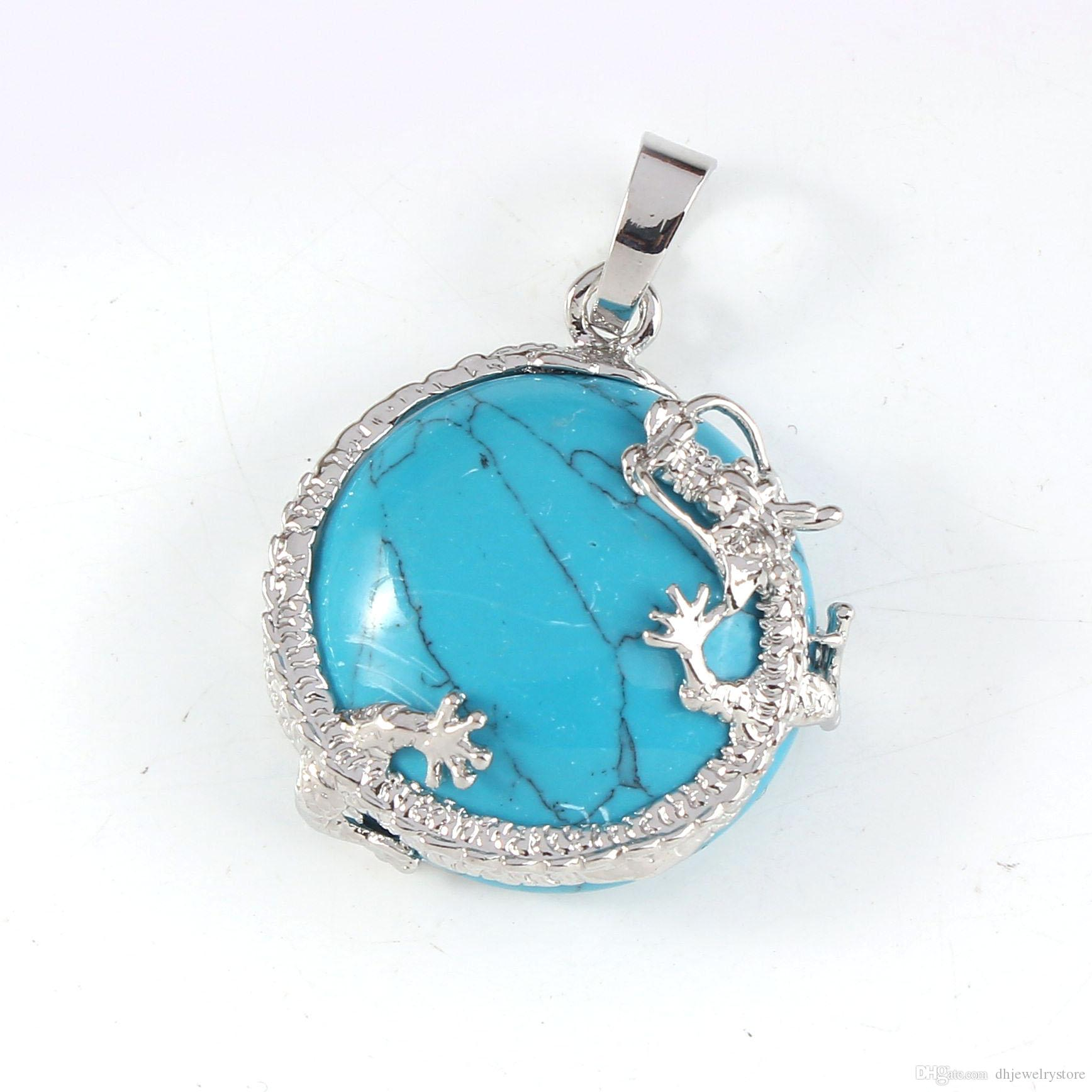 Wholesale Silver Plated Dragon Wrap Lapis Lazuli Blue Turquoise Half Ball Bead Vintage Pendant Charm Jewelry