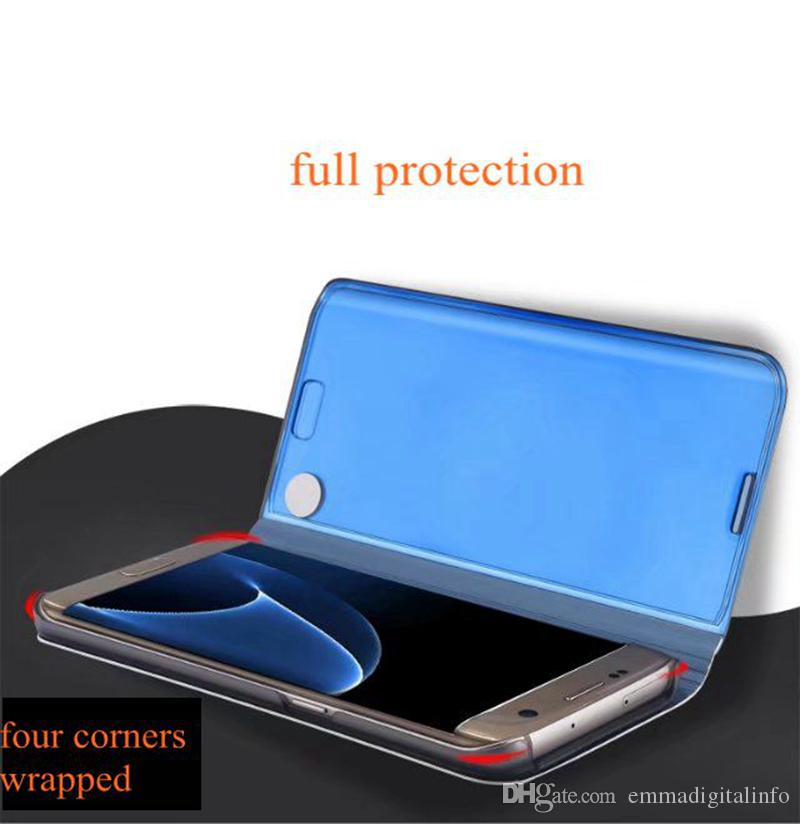 Plating Mirror Flip Cover Phone Case for Samsung Galaxy S6 Edge Plus S7 Edge S7 S6 Note 5 Smart View Phone Cases With Kickstand Function