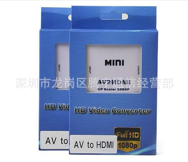 Kostenloser Shipping Mini AV auf HDMI Converter RCA Composite Video Audiosignale an HDMI-Signale AV2HDMI-Konverter für TV / Monitor