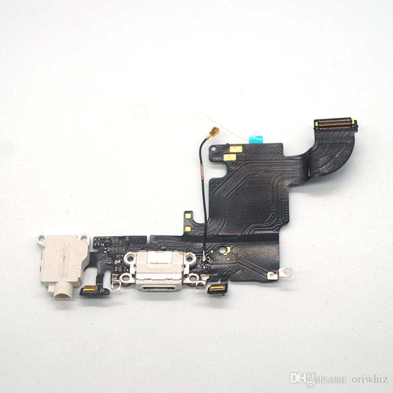 For iPhone 6s 6s Plus USB Dock Charger Charging Headphone Audio Port Flex Cable Replacement Part White Black Color Can