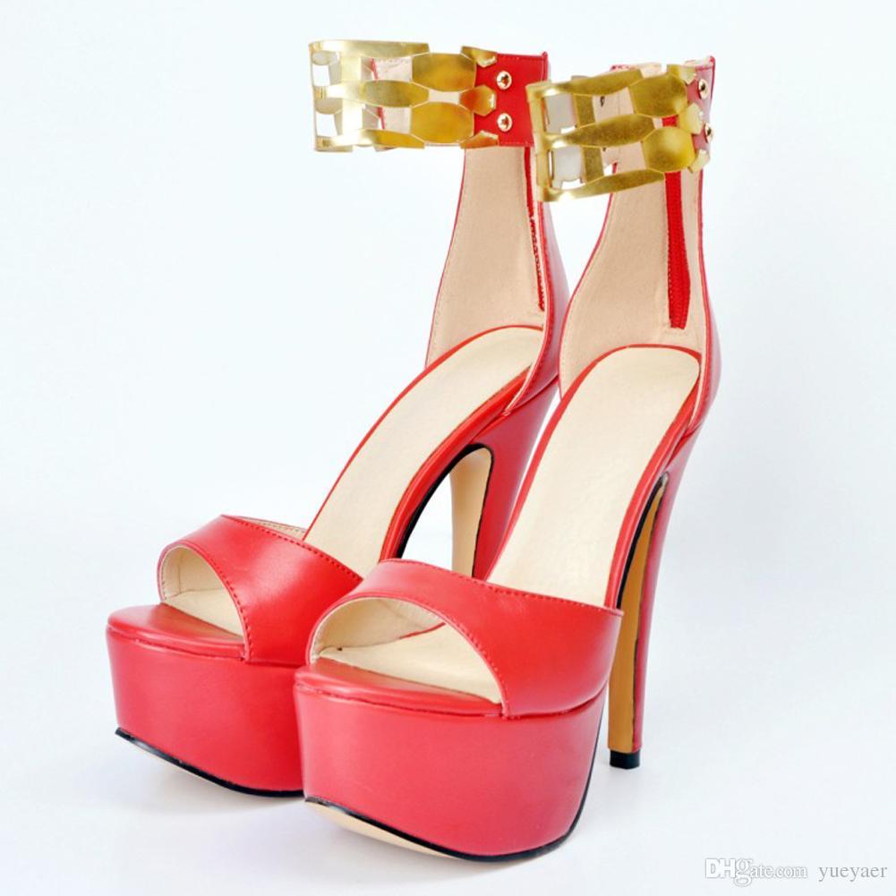Zandina Moda Feminina Sapatos De Salto Alto Bombas Gladiador Sandália Com Tiras Abertas Toe Sapatos Partido Escândalos XD203