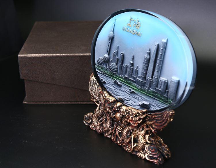 Cristallo decorazione a rilievo mattoni Casa-Arredo decorazione dello scrittorio ornamenti Shanghai turismo souvenir sacchetto regalo di posta