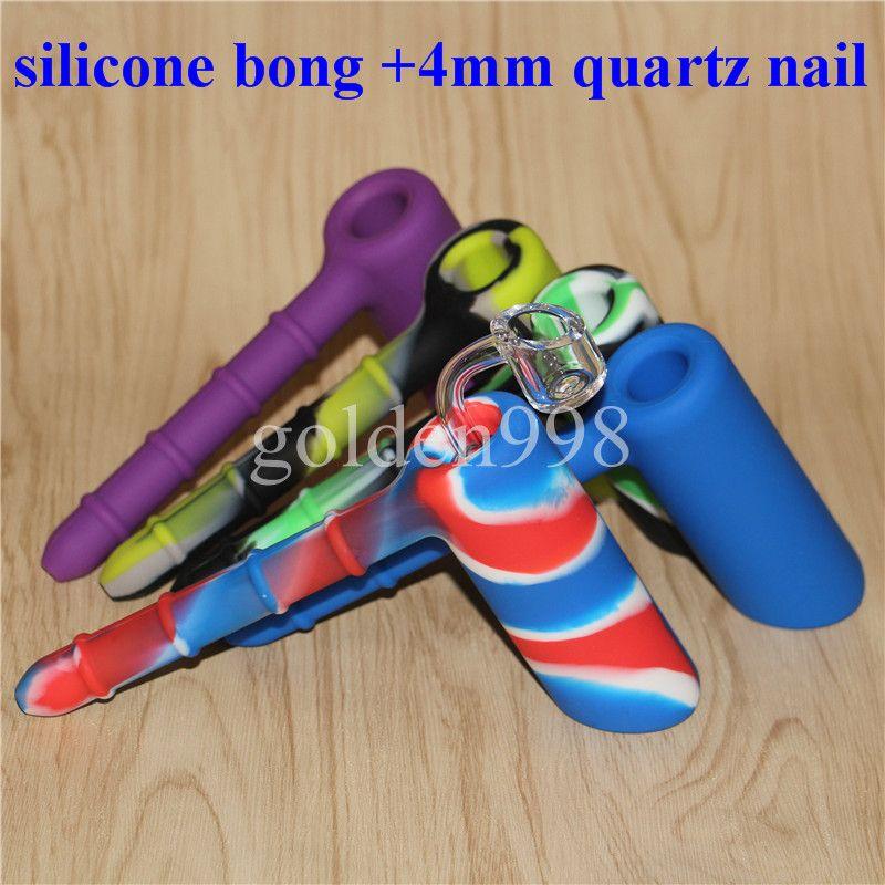 Оптовая силиконовые буровые установки силиконовые кальян бонги кремния барботер бонг с ясно 4 мм 18.8 мм мужской кварцевые гвозди