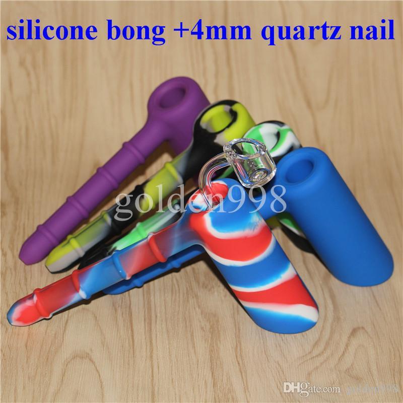 venta al por mayor Silicio Rigs Silicona Hookah Bongs silicio burbujeador bong con Claro 4mm 18.8mm uñas de cuarzo macho