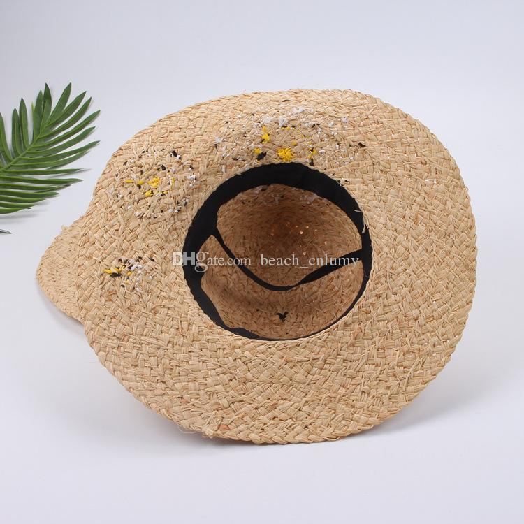 Fashion wide Brim summer beach sun hats for women sun & flower Embroidery big straw Hats caps lady holiday sunscreen foldable hats 2017 new