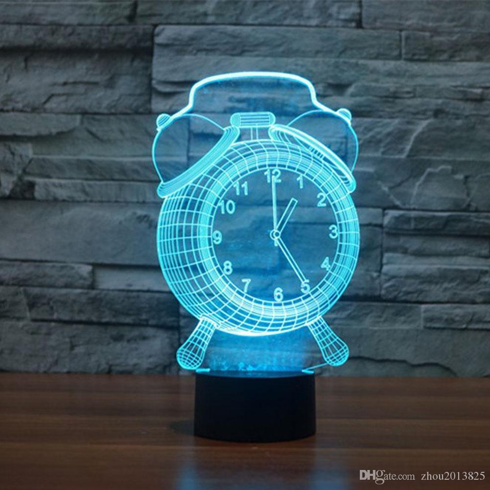 3D Optical Illusion Clock Changing LED Touch Desk Lamp Night Light,Alarm  Clock Baby Children Kids Bedside Illumination Table Lamp Desks For Bedrooms  3d 3d ...