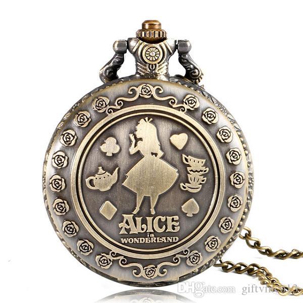 الجملة خمر كوارتز ساعة الجيب الأزياء قطع زهرة أليس في بلاد العجائب النساء السيدات بنات قلادة قلادة سلسلة ساعة مجوهرات