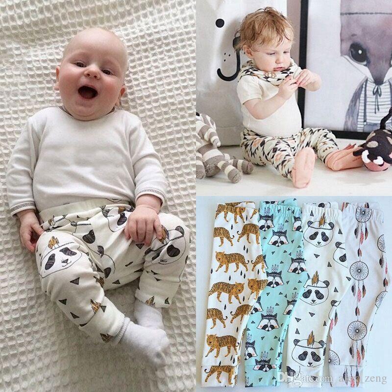 15 Design crianças INS pp calças moda bebê crianças menino da menina do guaxinim panda tenda rodas figura geométrica calças calças Leggings