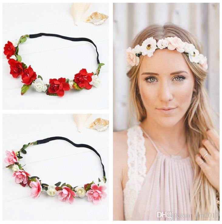 Sale Fashion Women Bride Flowers Headband Bohemian Style Rose Flower